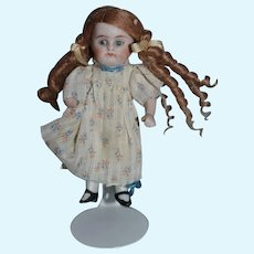 Old Doll All Bisque Miniature Curly Hair Dollhouse Dressed