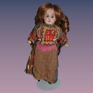 Antique Doll Miniature Bisque In Original Costume