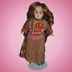 Antique Doll Miniature Bisque In Original Costume