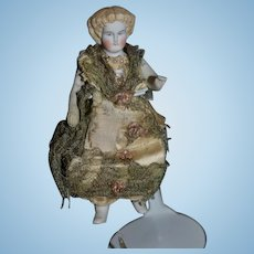 Antique Doll Frozen Charlotte China Head Jointed Gorgeous Face Miniature Dollhouse