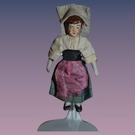 Old Doll Miniature Bisque Original Costume Dollhouse