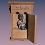 Old Wood Miniature Doll in Miniature Wood Outhouse  W/ Black all Bisque Figurine Dollhouse