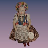 Old Doll Cloth Doll Felt KATI W/ Old Tag Fancy Costume