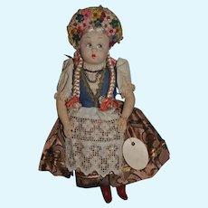 Old Doll Cloth Doll Felt KATI W/ Old Tag Fancy Costume