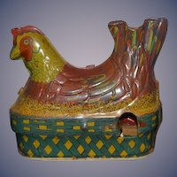 Old Toy Tin Litho Chicken Laying Eggs Wind Up Makes noise Great Display for Dolls