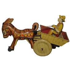 Old Marx Tin Litho Man in Carriage W/ Donkey Wind Up WORKS!