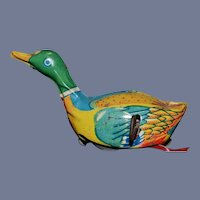 Old Lnakita Tin Toy Wind up Swimming Duck Litho Works!