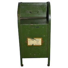 Old Miniature Green Post Office Mail Box For Doll Bank W/ Working Slot and Collection Times Mailbox Metal