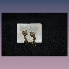 Old Doll Miniature Earrings on Original Card Faux Pearls and Stone Dangle For your Fancy Doll