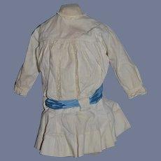 Sweet Old Cotton Drop Waist Lace Trim Doll Dress W/ Satin Bow