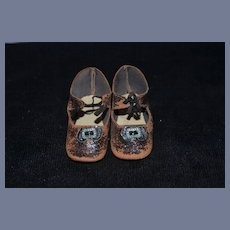 Old Leather Doll Shoes w/ Buckles & Ties Sweet!
