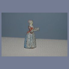 Antique Baker Chocolate Girl Metal Miniature Lady W/ Tray Pencil Sharpener Dollhouse