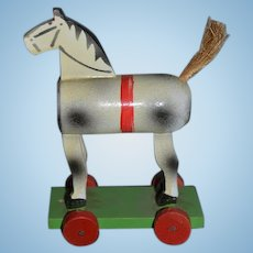Old Wood Pull Toy Horse Carved on Wheels