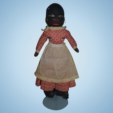 Old Black Doll Stockinette Rag Doll Folk Art Cloth Doll