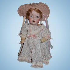 """Antique Doll Bisque Head Hilda Character Adorable 16"""" Tall and Dressed JDK Kesnter"""