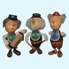 Vintage Wood Carved Casy Boys Figures Elaborate Signed Lot of Three Dolls