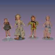Old Doll Miniature Lot of Four All Bisque Dolls