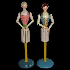 Old Wood Doll Set Carved Pegged Jointed Napkin Holder Set Sweet