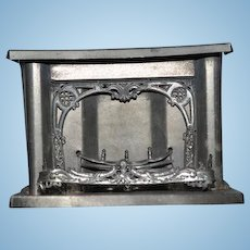 Old Doll Ornate Tin Fireplace Fire Place W/ Mantle Fancy Dollhouse Miniature