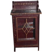 Old Doll Wood Miniature Glass Front Cabinet Bookshelf Dollhouse