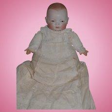 Antique Doll Huge Grace S. Putnam Bisque Head Doll Baby W/ Wonderful Long Antique Christening Gown