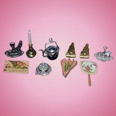 Vintage Doll Miniature Dollhouse Lot Desk Items Fans BookEnds