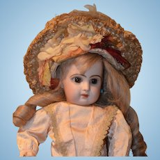 Antique Gorgeous TeTe Jumeau Bisque Petite Size Gorgeous Closed Mouth Bisque Dressed French Wig Straight Wrist Petite