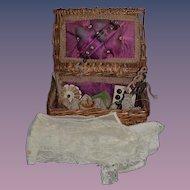 Antique Doll Miniature Sewing Kit Basket W/ Accessories Wicker