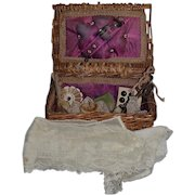 Antique Doll Miniature Sewing Kit Basket W/ Accessories Wicker