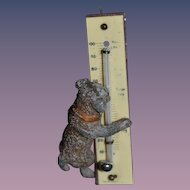 Old Doll Miniature Dog Holding Thermometer Metal Dog Dollhouse Cast Iron