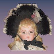 WONDERFUL Doll Hat Bonnet Feathers Fancy Lace Fur Artist Made