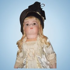 Wonderful Old Doll Bonnet or Hat Straw with Velvet and Bows Sweet!!