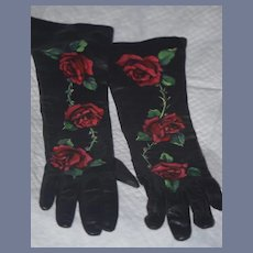 Vintage Wonderful Long Leather Hand Painted Italian Soft Gloves Roses Sequins GORGEOUS