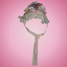 Wonderful Artist Made Doll Hat Bonnet Fancy Lace Flowers Bows