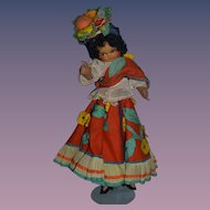 Old Doll Cloth Felt Wonderful Costume Wood Legs Fancy