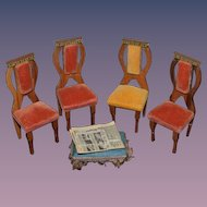 Old Doll Miniature Dollhouse Upholstered Chairs Stool W/ Fringe & Newspaper