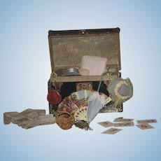 Old Doll Metal Trunk Filled W/ Accessories Dress Hats French Pillow Parasol Gloves Mirror Basket Purse Petite Doll