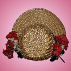 Wonderful Doll Straw Hat High Brim Flowers Sweet Bonnet