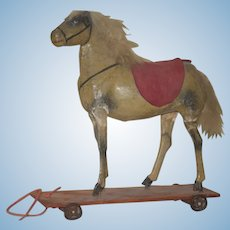 Old Doll Pull Toy Wood & Papier Mache Horse On Wood Plank W/ Metal Wheels Petite Size SWEET!