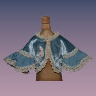Wonderful Doll Cape Velvet Lace Flowers Fancy