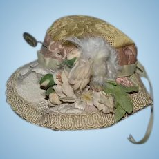 Artist Doll Hat Bonnet Tapestry Feathers Flowers Bow and Old Metal Cameo Stick Pin or Hat Pin