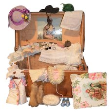 Wonderful Miniature Wood Trunk Filled W/ Doll Hat's Accessories Clothes For Bisque Doll Petite