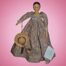 Artist Doll Wood Jointed Carved Nancy Castendyk Artist Doll Sweet Signed