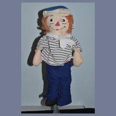 Old Raggedy Andy Doll Cloth Doll Rag Doll Georgene Tin Eyes