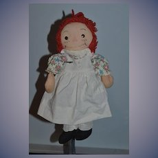 Old Raggedy Ann Cloth Doll Rag Doll Tin Eyes Petite SWEET!