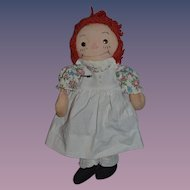 Old Raggedy Ann Cloth Doll Rag Doll Tin Eyes Petite SWEET!