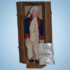 Antique Doll George Washington In Original Box W/ and Letter Signed By Martha Chase Oil Cloth & Provenance