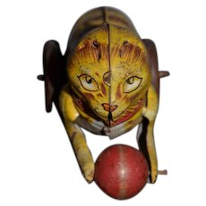 Old Tin Marx Wind Up Cat Toy W/ Ball For Doll or Child Works!