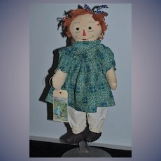 Old Doll Unusual Raggedy Ann Cloth Doll Rag Doll Button Eyes
