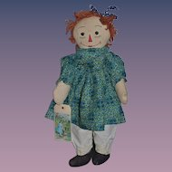 Old Doll Unusual Raggedy Ann Cloth Doll Rag Doll Button Eyes